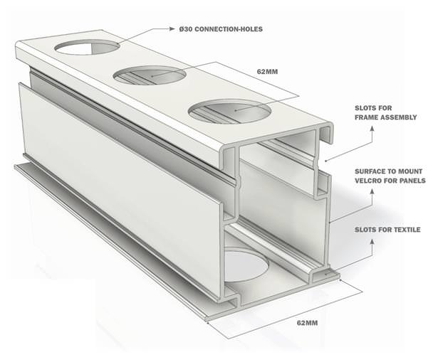 Extrustion Frame Configuration Diagram for Trade Show Display