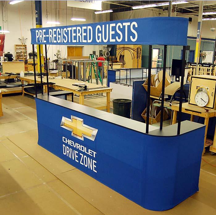 automobile counter event frame for trade show, marketing event