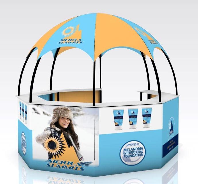 outside inside kiosk dome marketing even