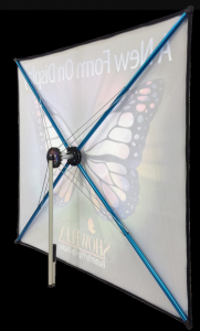 easy set-up and portable showflex display for promotional event