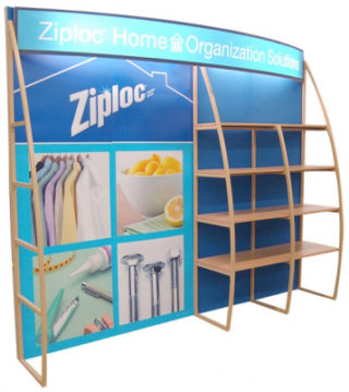 forum outrigger shelf display for marketing display
