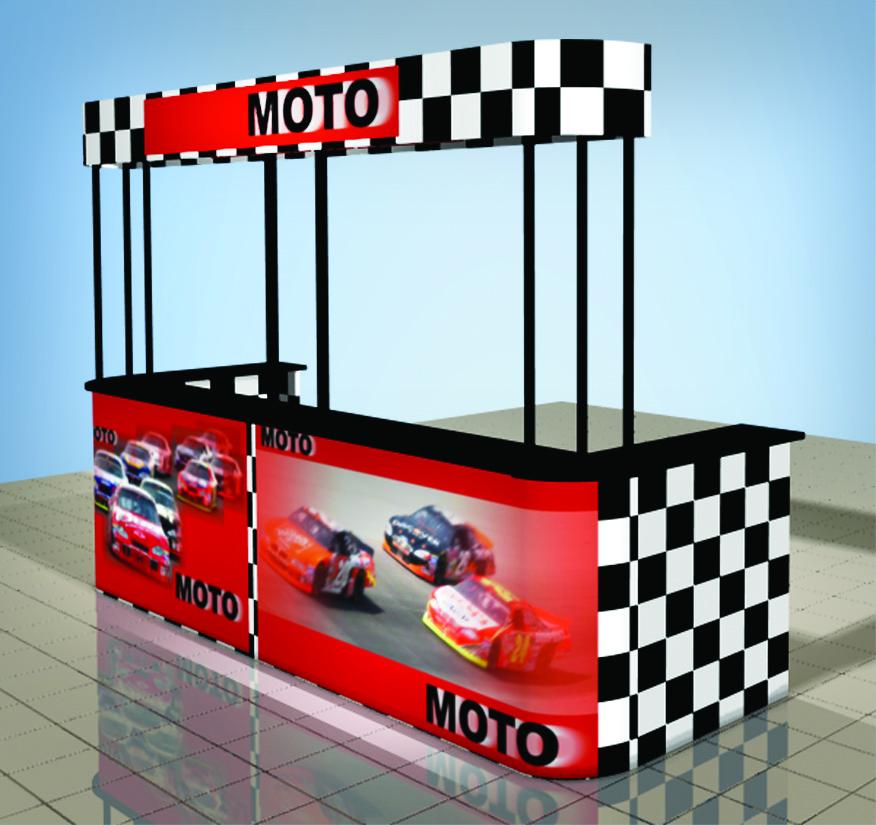 trade show moto event counter frame