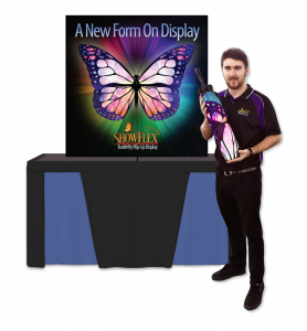 easy set-up and portable showflex display for